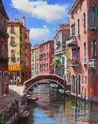 Sam Park Afternoon On The Canal Waterfront 30x24 Hand Sign/embell Giclee Pcoa