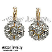 Russian Style Genuine Diamond Earrings In 14k Solid Rose And White Gold 585 E1023.