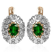 Russian Style Earrings 1.20ct Diamond And Emerald 14k Rose And White Gold 585