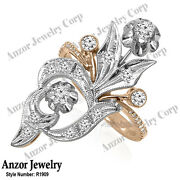 14k Solid Rose And White Gold Genuine Diamond Ring Russian Style Jewelry R1909
