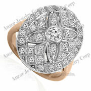 18k Solid Rose And White Gold Genuine Diamond Ring Russian Style Jewelry R1957.