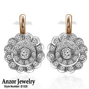 Russian Jewelry Genuine Diamond Earrings In 14k Solid Rose And White Gold E1328