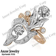 Russian Style Jewelry Genuine Diamond Ring In 14k Solid Rose And White Gold R1910