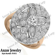 14k Solid Rose And White Gold Genuine Diamond Ring Russian Style Jewelry R1913