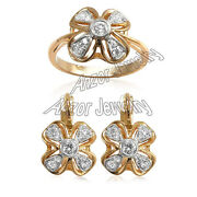 Russian Style Earring Ring Set 18k Rose And White Gold Genuine Diamonds 0.90 Ct.