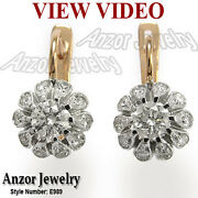 2.0 Ct.t.w. Diamond Earrings Russian Style 14k Rose And White Gold 585 E989.