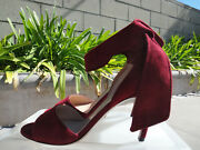 Christian Dior La Belle, Red Suede 90mm High Heeled Ankle Tie Sandals Sz 39 890