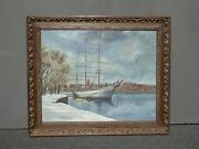 Vintage In The Harbor Oil On Canvas Painting Louis M. Hess 64 Ca Artist