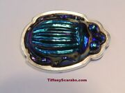 Rare Antique Signed Blue Favrile Art Glass Scarab Sterling Brooch Pin