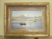Beautiful Signed 2002 Fishing Scene Oil On Canvas Picture By Alfredo Gomez