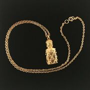 Vintage 1970and039s Gold Plated Greek Amphora Bottle Pendant With Chain New Old Stock