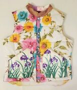 Totem Salvaged Vintage Silk Scarf Floral Puffy White Cotton Vest Size Large New