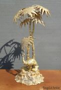 Vintage Mappin Brothers Of London Table Top Decor Palm Trees W A Emu Bird Statue