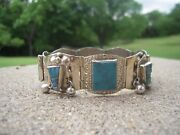 Taxco Vintage Sterling Silver Turquoise Bracelet Sterling Silver Dangle Beads