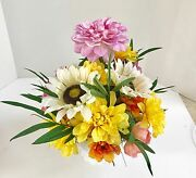 Decorative Planter With Silk Flowers Grass Succulents Milk White Carnival Glass