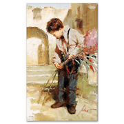 Pino Giclee Canvas S/ Lines In The Sand Small Handsome Boy With Coa 26x16