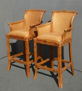 Pair Vintage Tiki Palm Beach Style Rattan And Brown Leather Bar Stools