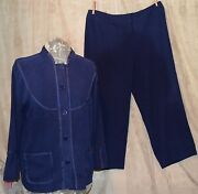 2 Pc Ruby Road Unique Pants Set With An Asian Flair Navy Sz 16 High End Brand