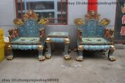 China Royal 100 Pure Bronze Cloisonne Huge-dragon Palace Table Chair Throne Set