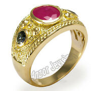 Menand039s 18k Gold Genuine Ruby And Ceylon Sapphire Ring 2859.00 R1323