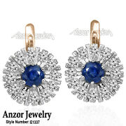 14k Solid Rose And White Gold Genuine Sapphire And Diamond Russian Style Earrings