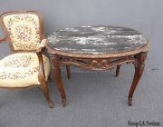 Antique French Louis Xv Marble Side Table Ornately Carved Wood