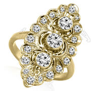 Russian Style Ring Genuine Diamond Marquise Shape Ring In 14k Yellow Gold
