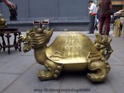 China Brass Longevity Calligraphy Dragon Turtle Tortoise Lucky Fengshui Statues