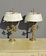 Vintage Pair Of French Brass Bouillotte 3 Arm Candelabra Table Lamps