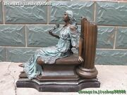 19signed Bronze Marble Armed With The Back Column Woman Of The Roses Sculpture
