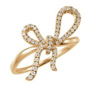 1.06ct Natural Round Diamond 14k Solid Yellow Gold Bow Ring In Size 7 To 9