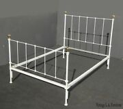 Vintage French Country Shabby Chic Bed Frame Headboard White W Gold Finials