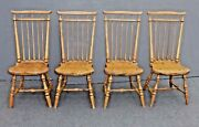 Set Four Antique Windsor French Country Dining Room Chairs Colonial Farmhouse