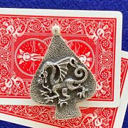 """Poker Card Guard/protector,""""ace Of Dragons"""" Handmade Sterling Silver Chromestyle"""