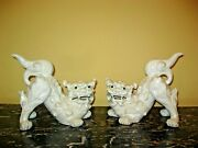 Pair Of Signed Oriental Japanese White Porcelain Foo Dogs Chinoiserie Figurines