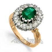 14k Rose And White Gold 1.80cwt Emerald 1.10 Cwt Diamond Russian Style Ring R1583