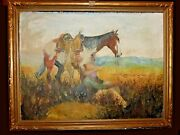 Old 1932 Cowboy And Horse Pastel Painting Signed W L Hagenbagh Listed Ca Artist
