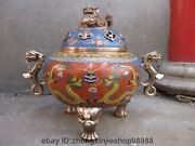 Chinese Regius Pure Bronze Cloisonne Two Dragon Foo Dogs Lion Palace Censer
