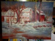 Winter In Vermont House And Barn-o/c 12x16 Unsigned Painting--awesome Piece