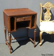 Vintage Antique Side Table W Telephone Or Magazine Rack Occasional Table