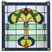 17 X 17 Art Nouveau Royal Greenhouse Style Stained Glass Window Panel