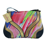 Swank Bags Hand Painted Leather Hobo Bag - Abstract Bright Colors Sb086-2