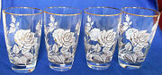 Vintage Set Of 4 Four 12 Oz High Ball Glasses W/rose Pattern, Gold Accents