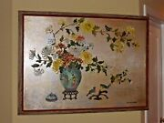 Vintage Silver Gilt Floral Picture Painting On Board Signed R.j. Schellenbach