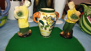Japanese Collectibles Antiques Elephant Handle Vase And Two Oriental Figurines
