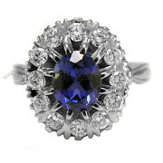 14k Solid White Gold 2.1 Cwt Sapphire 1.10 Cwt G-vs2 Diamond Russian Ring R1827.