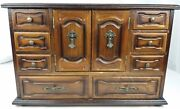 Vintage Ornate 4-tier Wooden Jewelry Box With 3-tier Armoire-style Inset