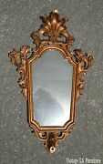Antique French Provincial Rococo Ornate Carved Wood Gold Wall Mirror Made Italy