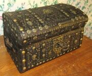 Antique Treasure Jewel Box Leather Bound Brass Studded Chest Childs Trunk C-1850