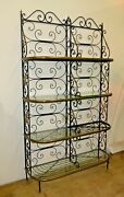 Vintage Bakers Rack Solid Wrought Iron W Solid Brass Hardware Bookcase